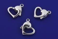 Karabiner mit fester Öse / Herzform / 925 Silber