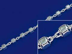 Ankerketten mit Würfel und Karabiner (ø2.2mm) / 925 Silber