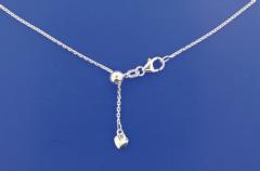 Silberketten ANKER DIAMANTIERT VARIO mit HERZ (Karabiner) / 925 Silber LÄNGE VARIABEL!